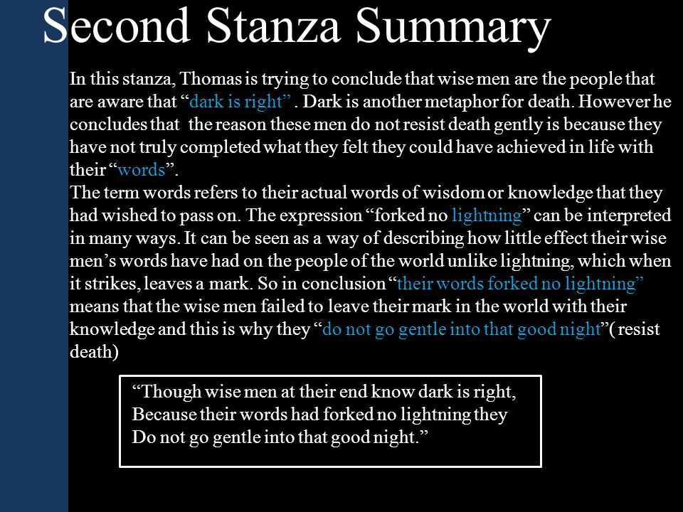 """Second Stanza Summary In this stanza, Thomas is trying to conclude that wise men are the people that are aware that """"dark is right"""". Dark is another m"""