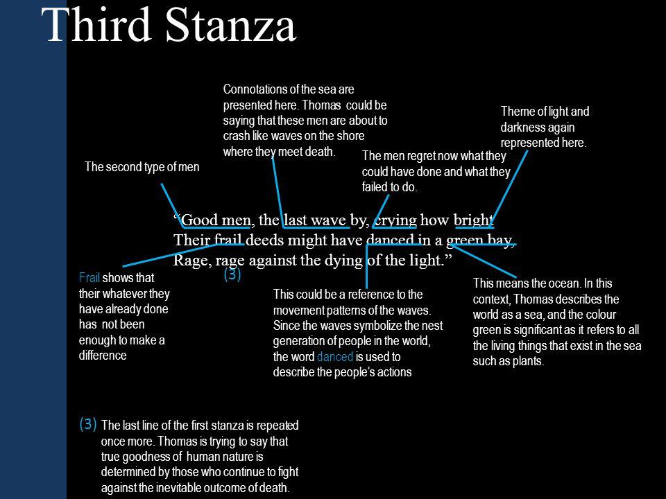 Third Stanza Summary In this stanza, Thomas shows that even good men will battle against death.