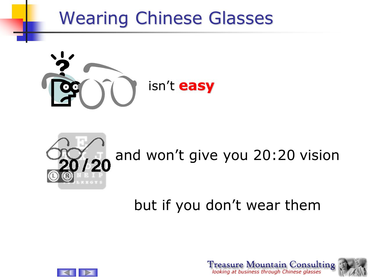Wearing Chinese Glasses easy isn't easy and won't give you 20:20 vision but if you don't wear them