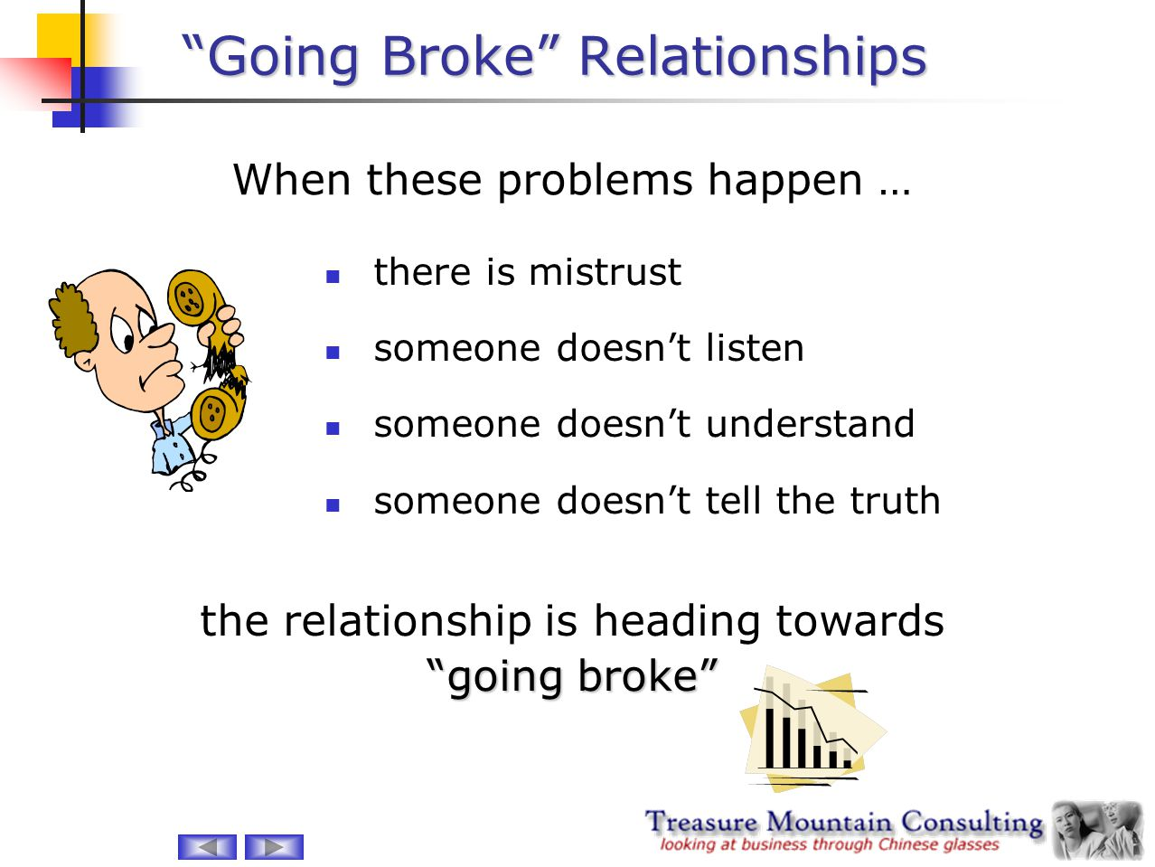 Going Broke Relationships 1.you didn't (or couldn't) do your 'due diligence', and are partnered with a Chinese firm unable to do the work you need from them 2.your Chinese partner is 'out to get you' in some way Going Broke relationships are those where the basic conditions of the relationship lead to inevitable problems > failure > going broke.