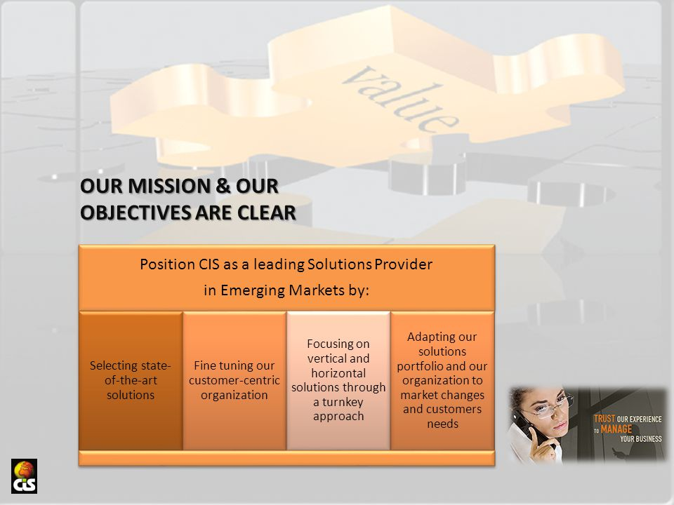 OUR MISSION & OUR OBJECTIVES ARE CLEAR Position CIS as a leading Solutions Provider in Emerging Markets by: Selecting state- of-the-art solutions Fine