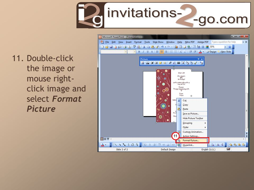 11.Double-click the image or mouse right- click image and select Format Picture 11