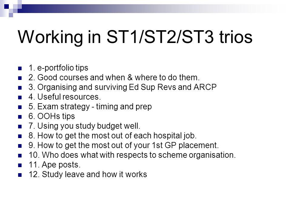 Working in ST1/ST2/ST3 trios 1. e-portfolio tips 2.