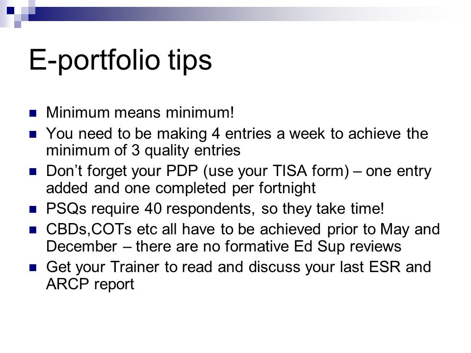 E-portfolio tips Minimum means minimum.