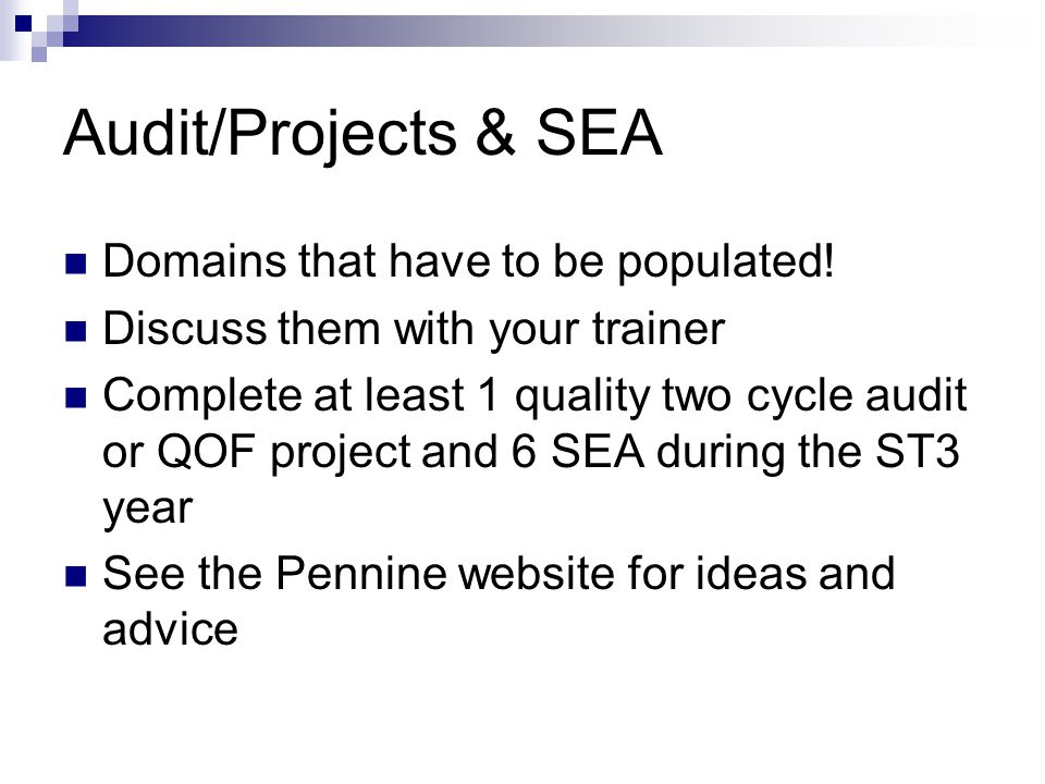 Audit/Projects & SEA Domains that have to be populated.