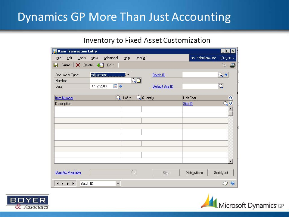 Dynamics GP More Than Just Accounting Inventory to Fixed Asset Customization