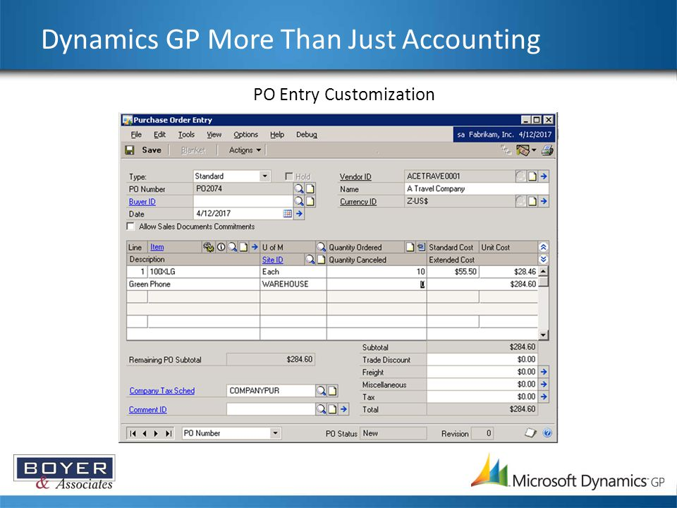 Dynamics GP More Than Just Accounting PO Entry Customization