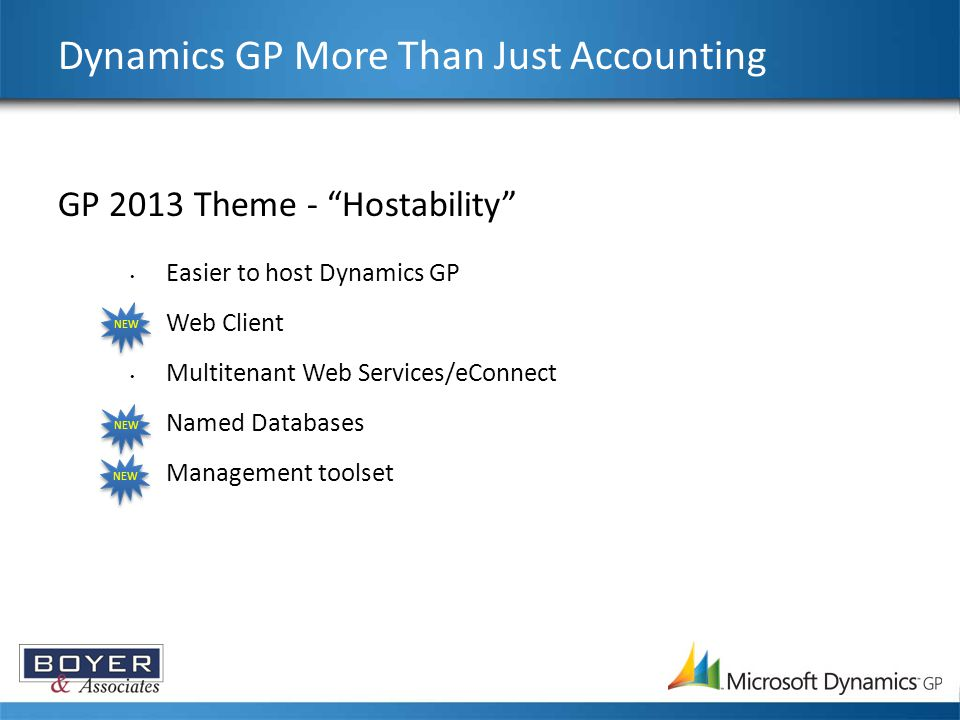 "GP 2013 Theme - ""Hostability"" Easier to host Dynamics GP Web Client Multitenant Web Services/eConnect Named Databases Management toolset Dynamics GP M"