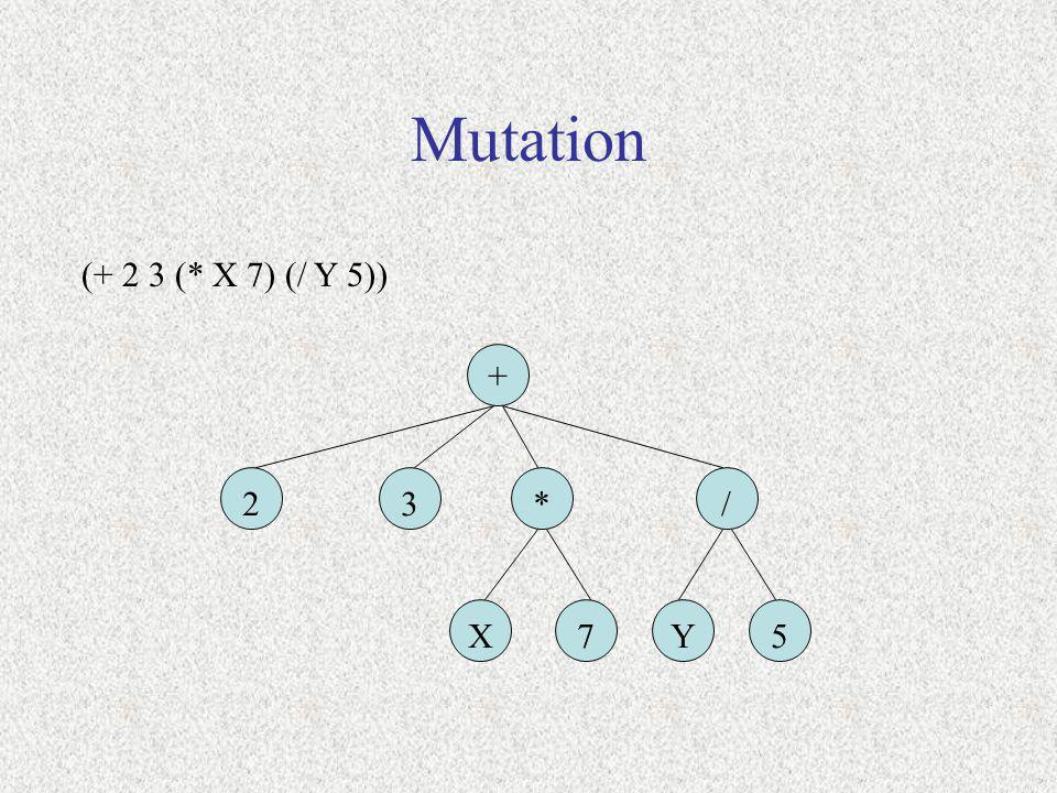 Mutation (+ 2 3 (* X 7) (/ Y 5)) + 23*/ X75Y