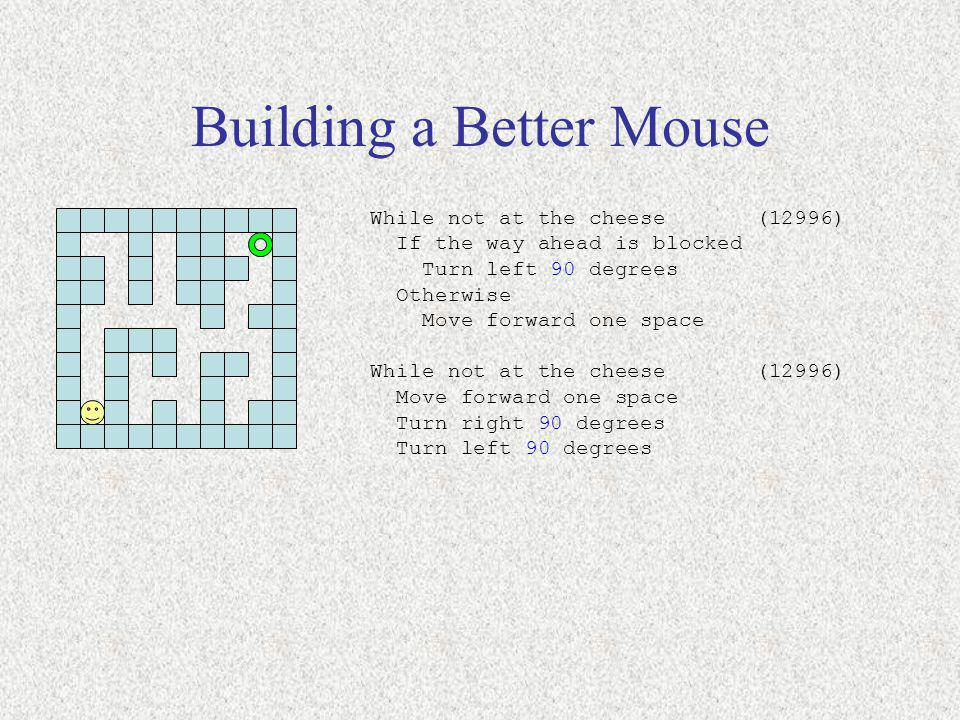 Building a Better Mouse While not at the cheese (12996) If the way ahead is blocked Turn left 90 degrees Otherwise Move forward one space While not at