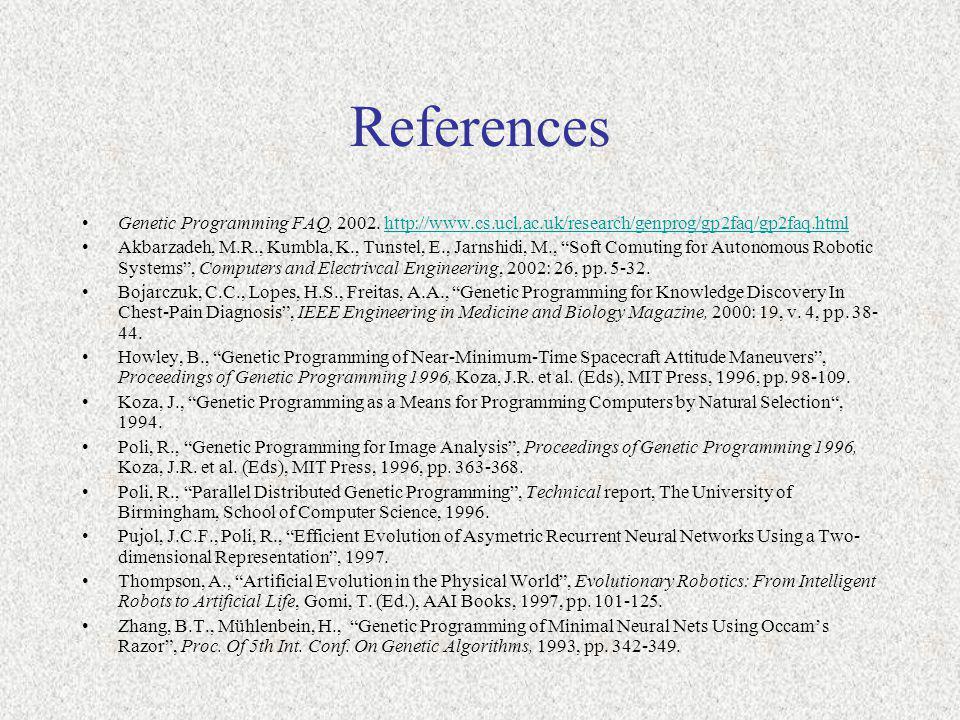 References Genetic Programming FAQ, 2002.