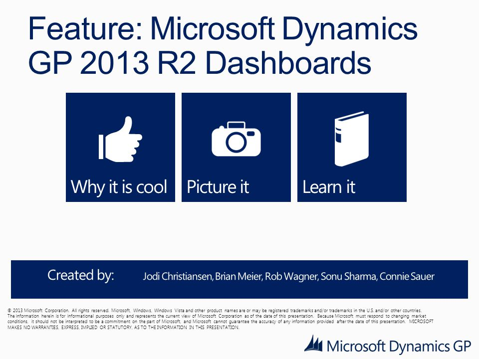 Feature: Microsoft Dynamics GP 2013 R2 Dashboards © 2013 Microsoft Corporation.