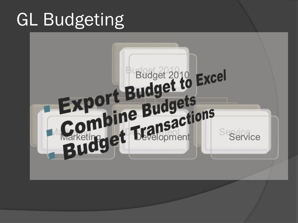 GL Budgeting Budget 2010MarketingDevelopmentServiceBudget 2010MarketingDevelopmentService