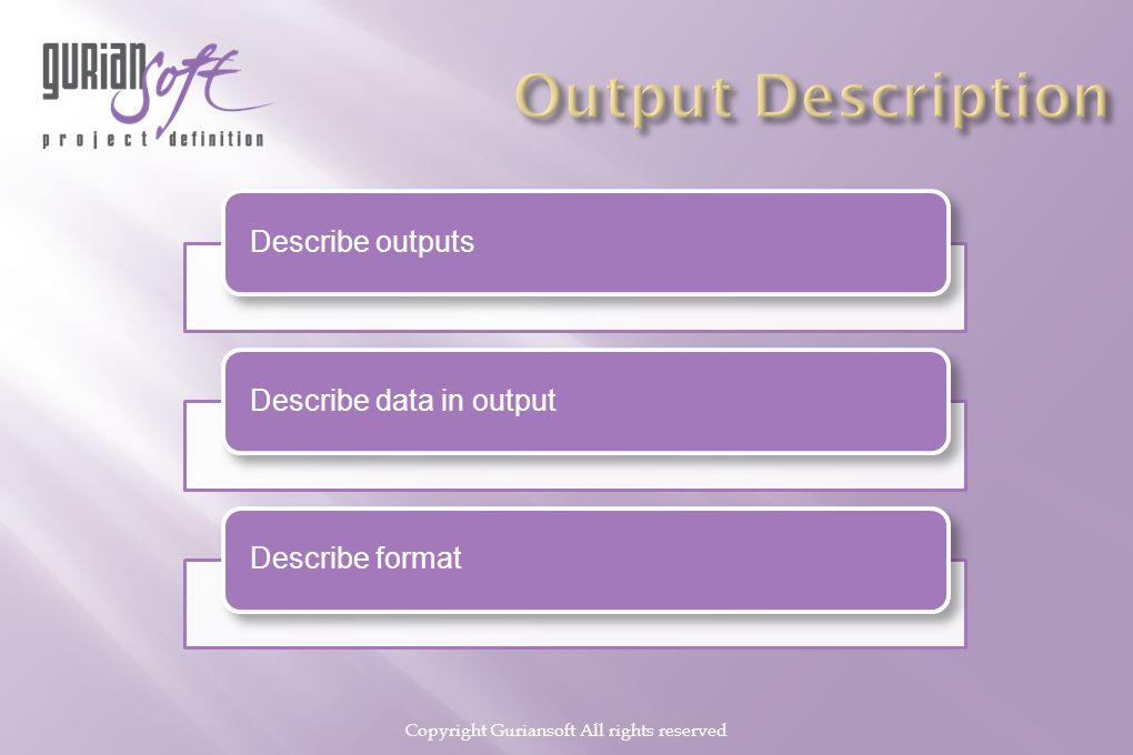 Copyright Guriansoft All rights reserved Describe outputsDescribe data in outputDescribe format