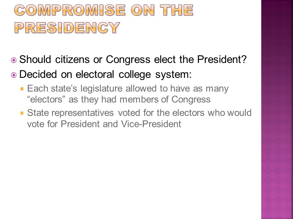 """ Should citizens or Congress elect the President?  Decided on electoral college system:  Each state's legislature allowed to have as many """"electors"""