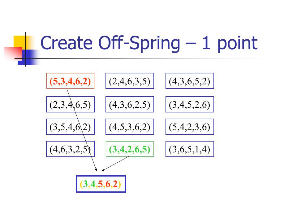 Create Off-Spring – 1 point (5,3,4,6,2) (2,4,6,3,5)(4,3,6,5,2) (2,3,4,6,5)(4,3,6,2,5)(3,4,5,2,6) (3,5,4,6,2)(4,5,3,6,2)(5,4,2,3,6) (4,6,3,2,5) (3,4,2,