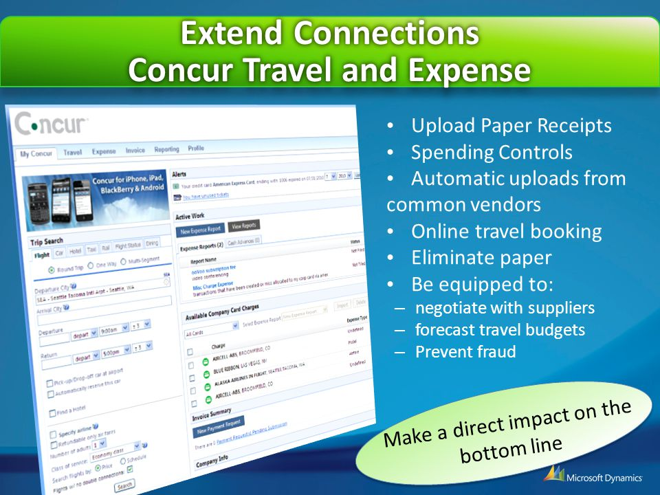 Concur Travel and Expense Upload Paper Receipts Spending Controls Automatic uploads from common vendors Online travel booking Eliminate paper Be equip