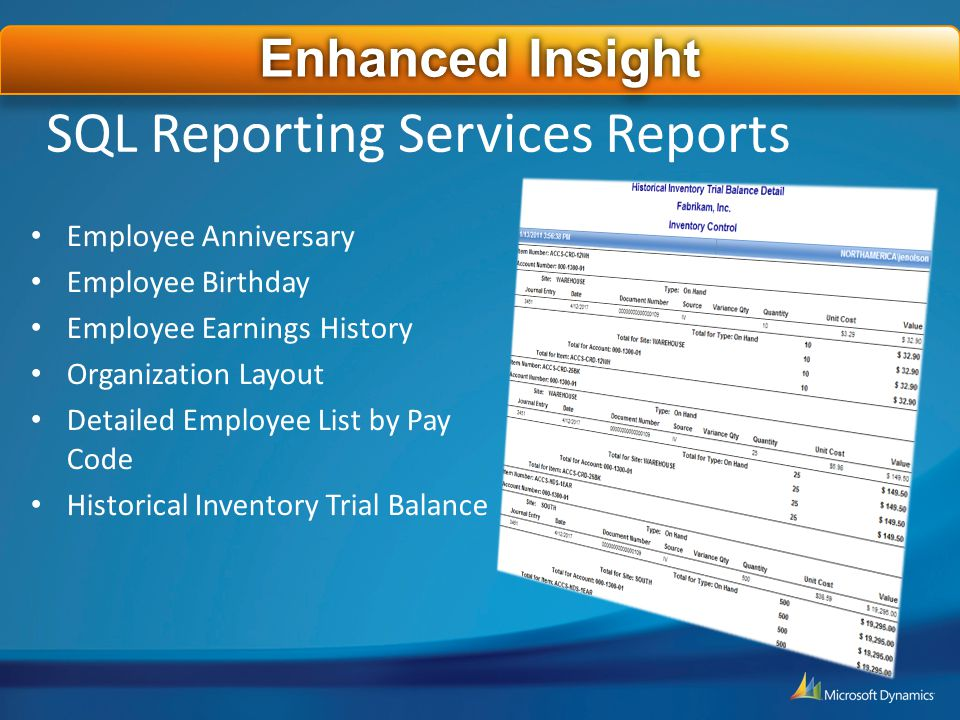 SQL Reporting Services Reports Employee Anniversary Employee Birthday Employee Earnings History Organization Layout Detailed Employee List by Pay Code