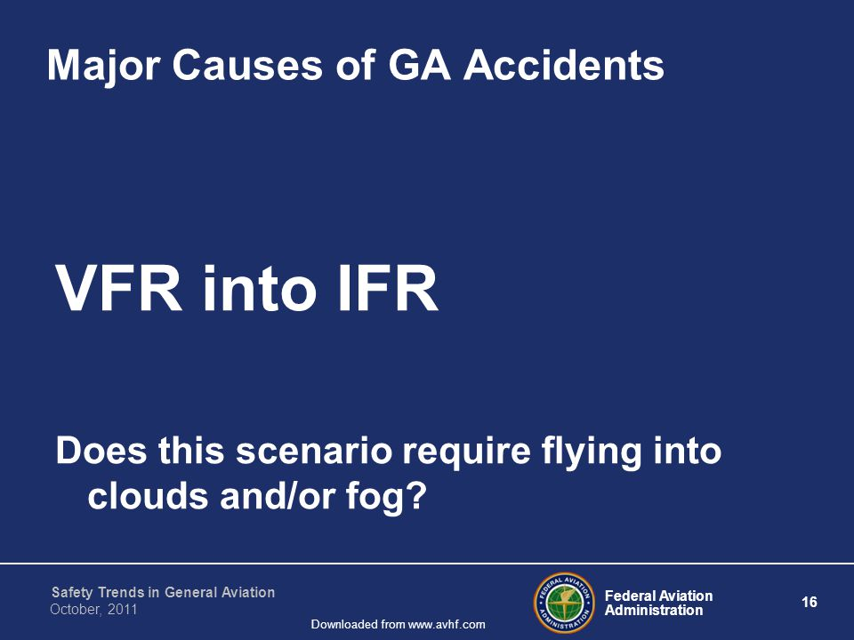 Federal Aviation Administration 16 Safety Trends in General Aviation October, 2011 Downloaded from www.avhf.com Major Causes of GA Accidents VFR into IFR Does this scenario require flying into clouds and/or fog?