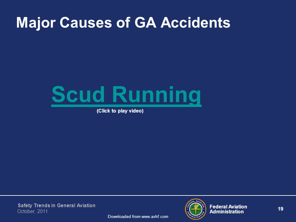 Federal Aviation Administration 19 Safety Trends in General Aviation October, 2011 Downloaded from www.avhf.com Major Causes of GA Accidents Scud Running (Click to play video)