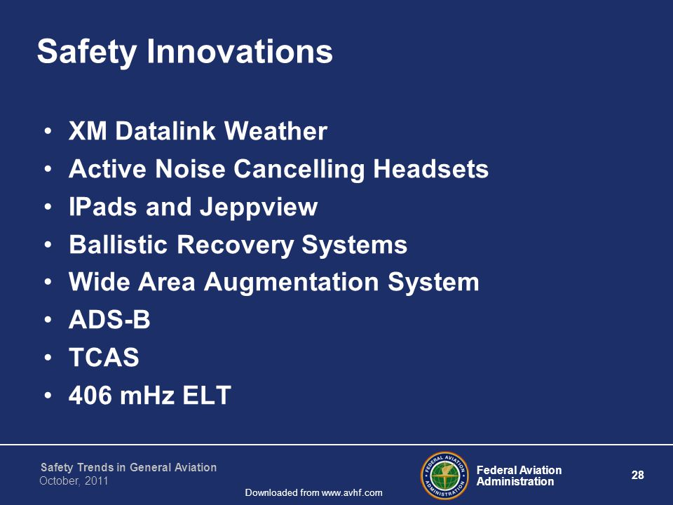 Federal Aviation Administration 28 Safety Trends in General Aviation October, 2011 Downloaded from www.avhf.com Safety Innovations XM Datalink Weather