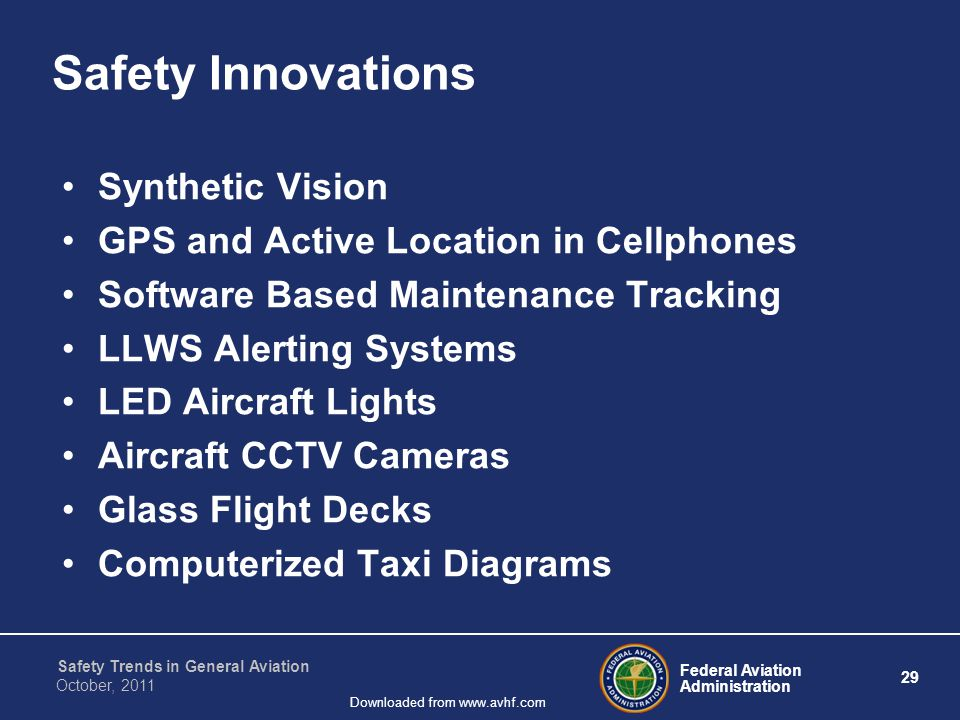Federal Aviation Administration 29 Safety Trends in General Aviation October, 2011 Downloaded from www.avhf.com Safety Innovations Synthetic Vision GP