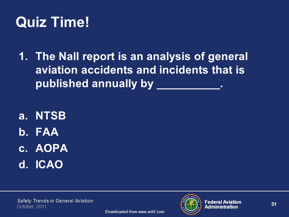 Federal Aviation Administration 31 Safety Trends in General Aviation October, 2011 Downloaded from www.avhf.com Quiz Time! 1.The Nall report is an ana