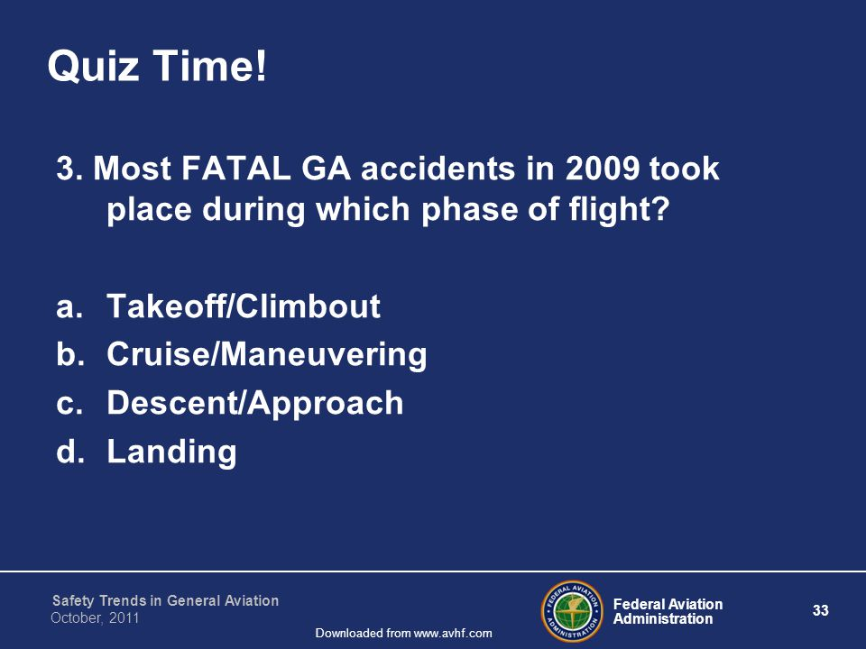 Federal Aviation Administration 33 Safety Trends in General Aviation October, 2011 Downloaded from www.avhf.com Quiz Time.