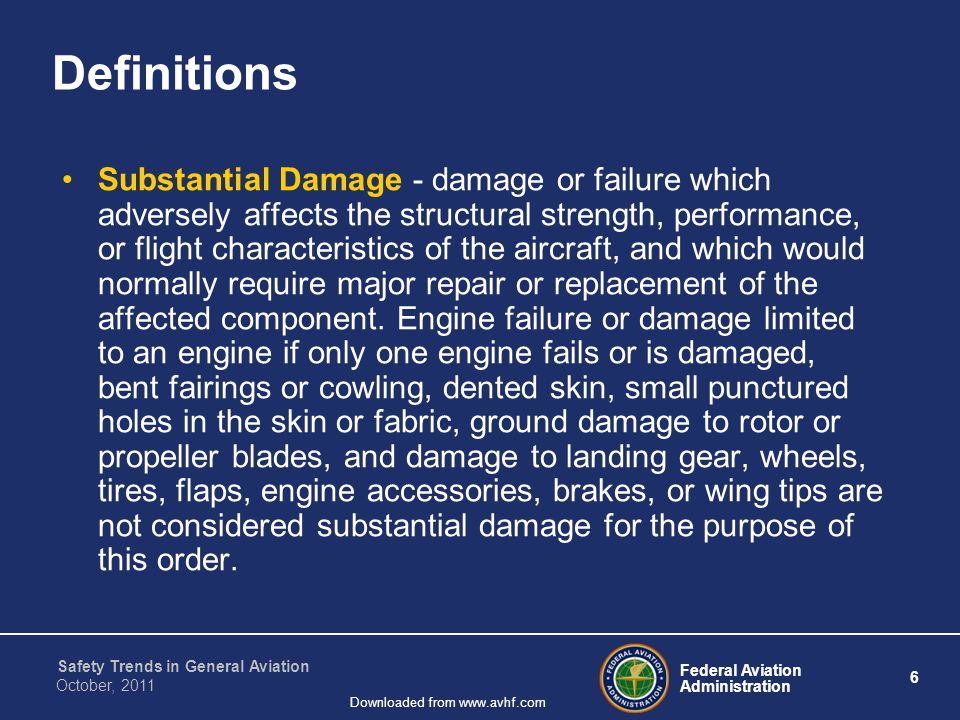 Federal Aviation Administration 6 Safety Trends in General Aviation October, 2011 Downloaded from www.avhf.com Definitions Substantial Damage - damage or failure which adversely affects the structural strength, performance, or flight characteristics of the aircraft, and which would normally require major repair or replacement of the affected component.