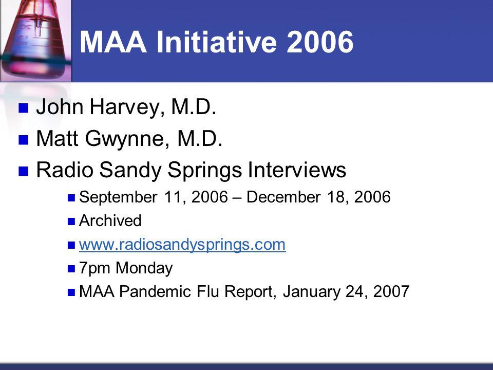MAA Initiative 2006 John Harvey, M.D. Matt Gwynne, M.D. Radio Sandy Springs Interviews September 11, 2006 – December 18, 2006 Archived www.radiosandys