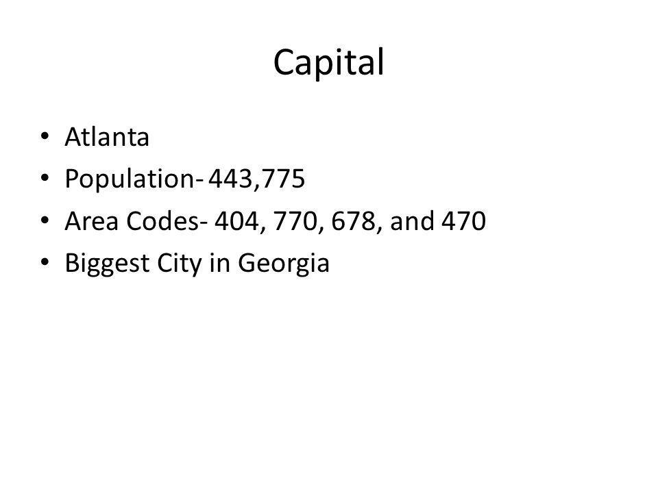 Capital Atlanta Population- 443,775 Area Codes- 404, 770, 678, and 470 Biggest City in Georgia