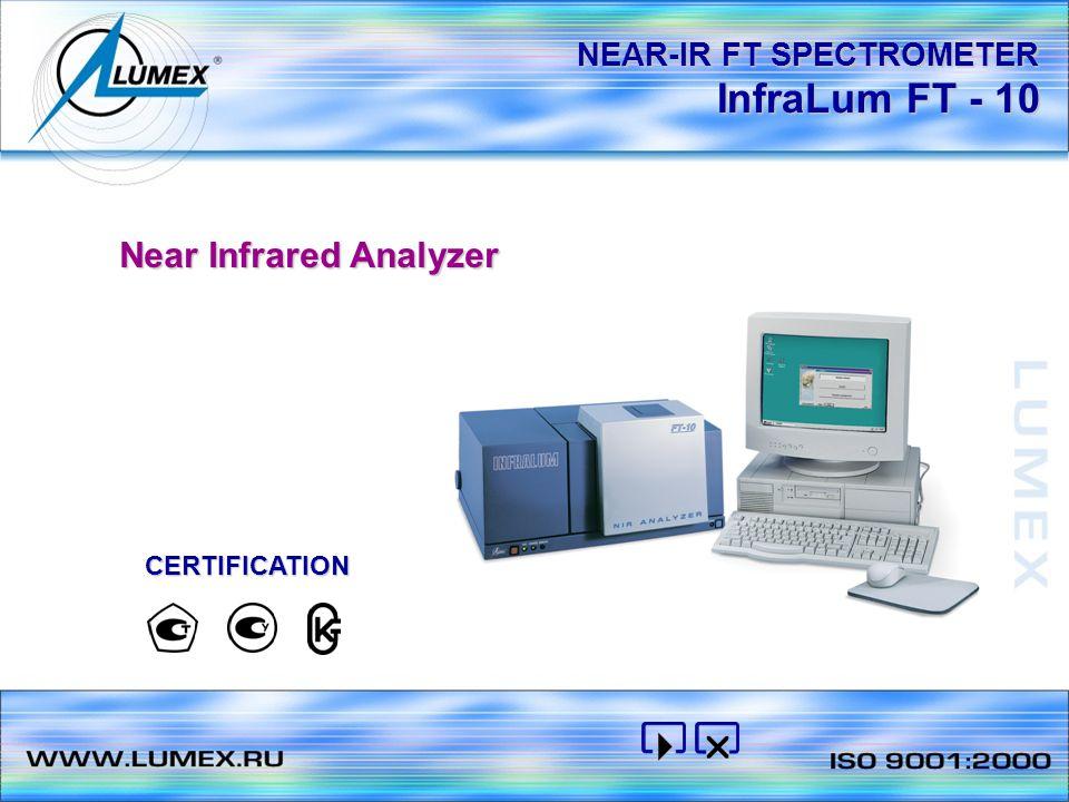 InfraLum FT - 10 NEAR-IR FT SPECTROMETER Near Infrared Analyzer CERTIFICATION