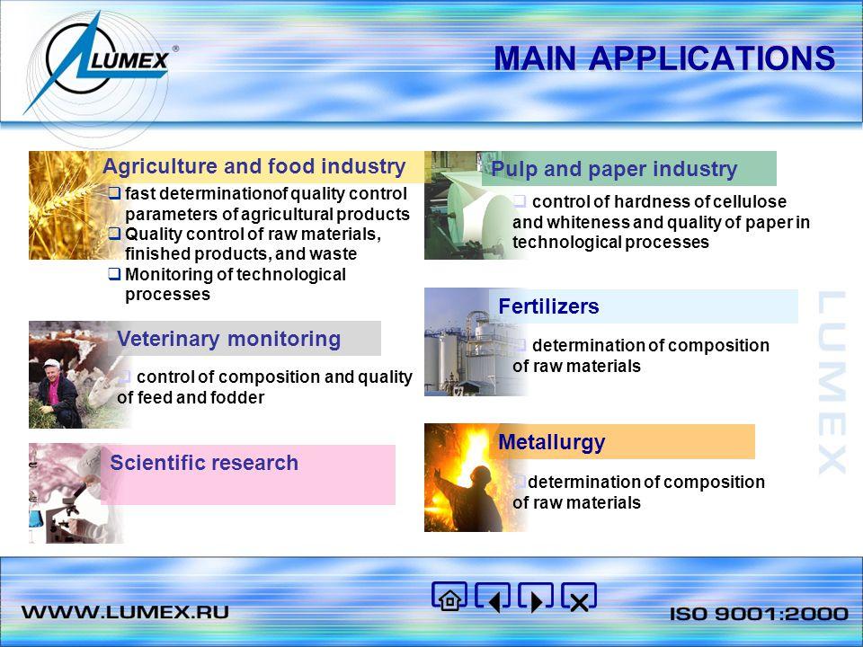 MAIN APPLICATIONS  Whole grain analysis (wheat)  Mixed feed analysis (different types)  Whole grain analysis (barley)