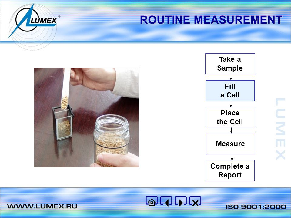 ROUTINE MEASUREMENT Take a Sample Fill a Cell Place the Cell Measure Complete a Report Fill a Cell