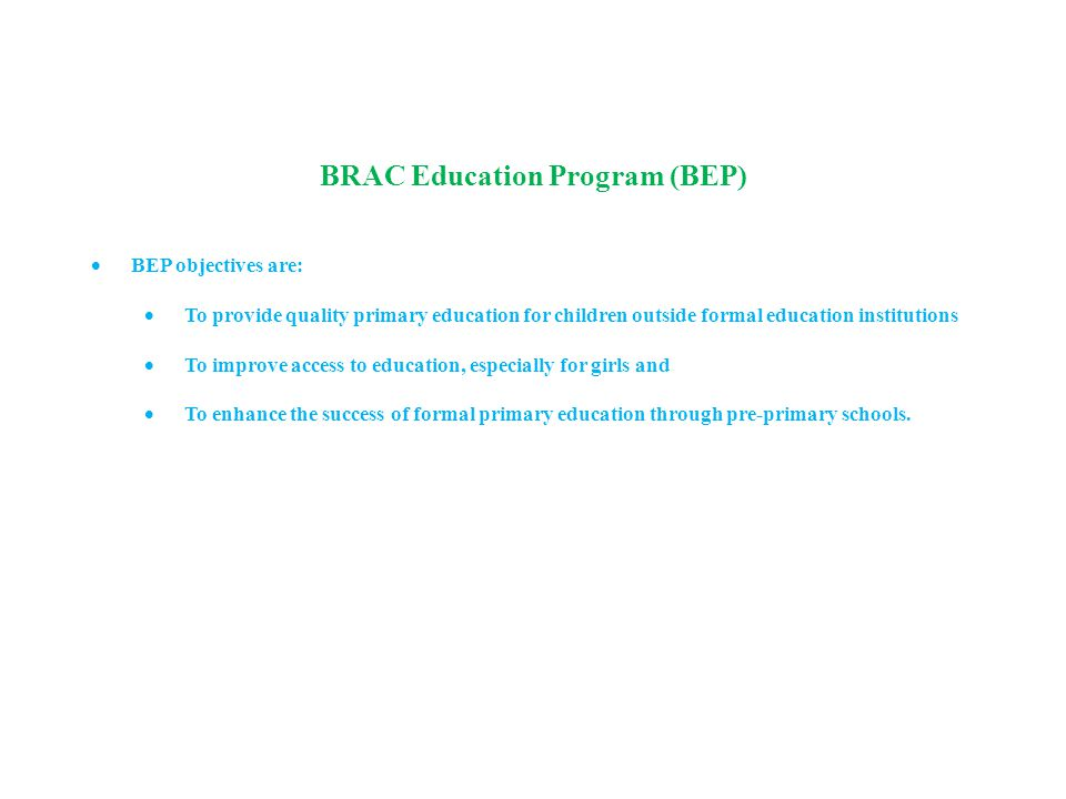 BRAC Education Program (BEP)  BEP objectives are:  To provide quality primary education for children outside formal education institutions  To improve access to education, especially for girls and  To enhance the success of formal primary education through pre-primary schools.