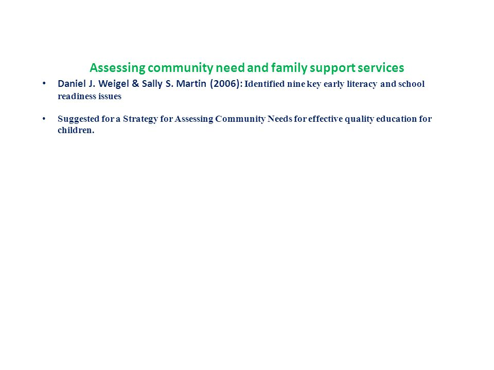 Assessing community need and family support services Daniel J.