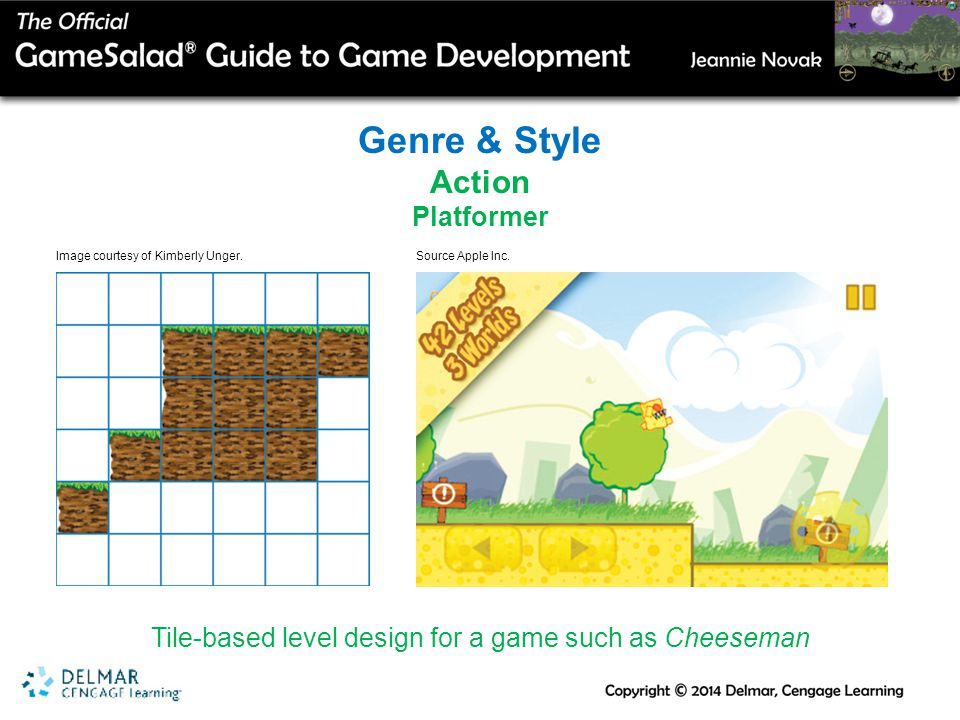 Genre & Style Action Platformer Tile-based level design for a game such as Cheeseman Image courtesy of Kimberly Unger.Source Apple Inc.