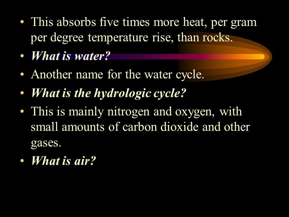 This absorbs five times more heat, per gram per degree temperature rise, than rocks.