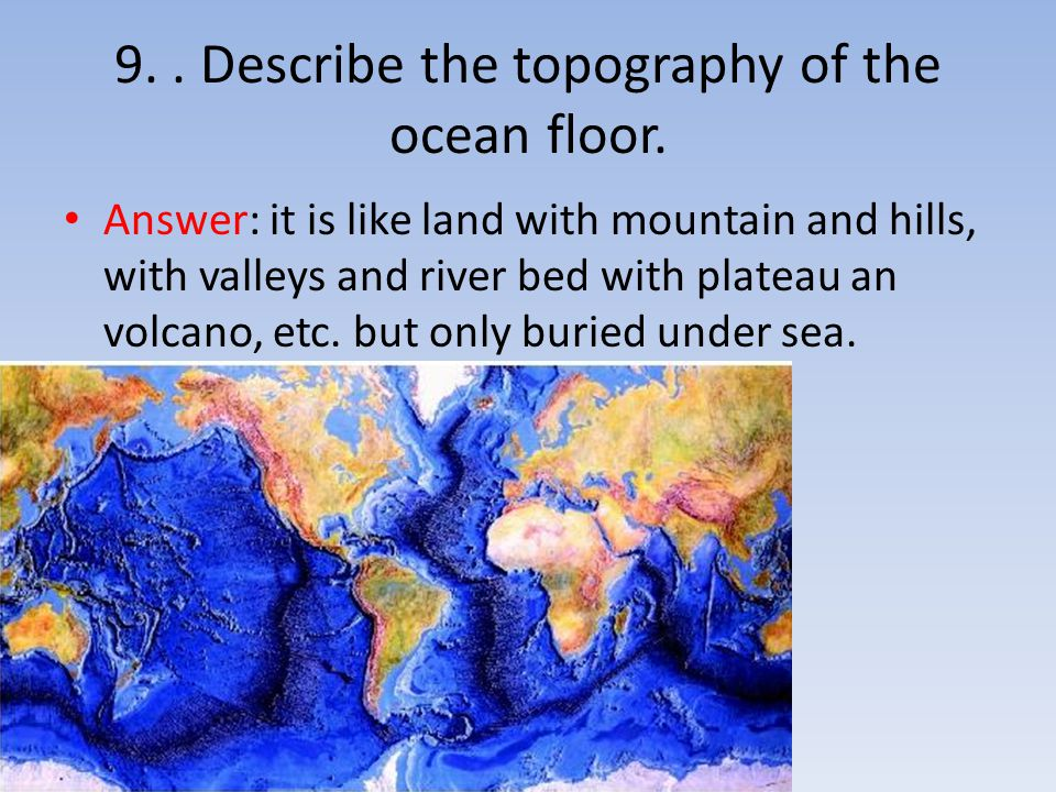 9.. Describe the topography of the ocean floor. Answer: it is like land with mountain and hills, with valleys and river bed with plateau an volcano, e
