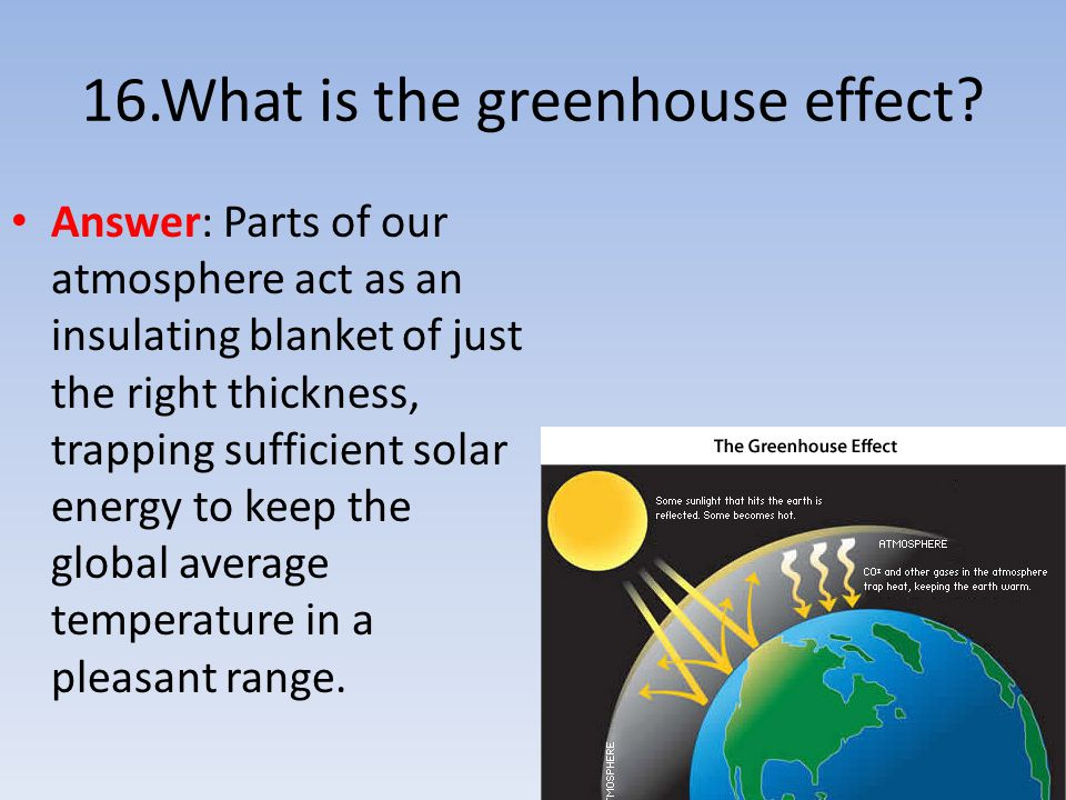 16.What is the greenhouse effect? Answer: Parts of our atmosphere act as an insulating blanket of just the right thickness, trapping sufficient solar