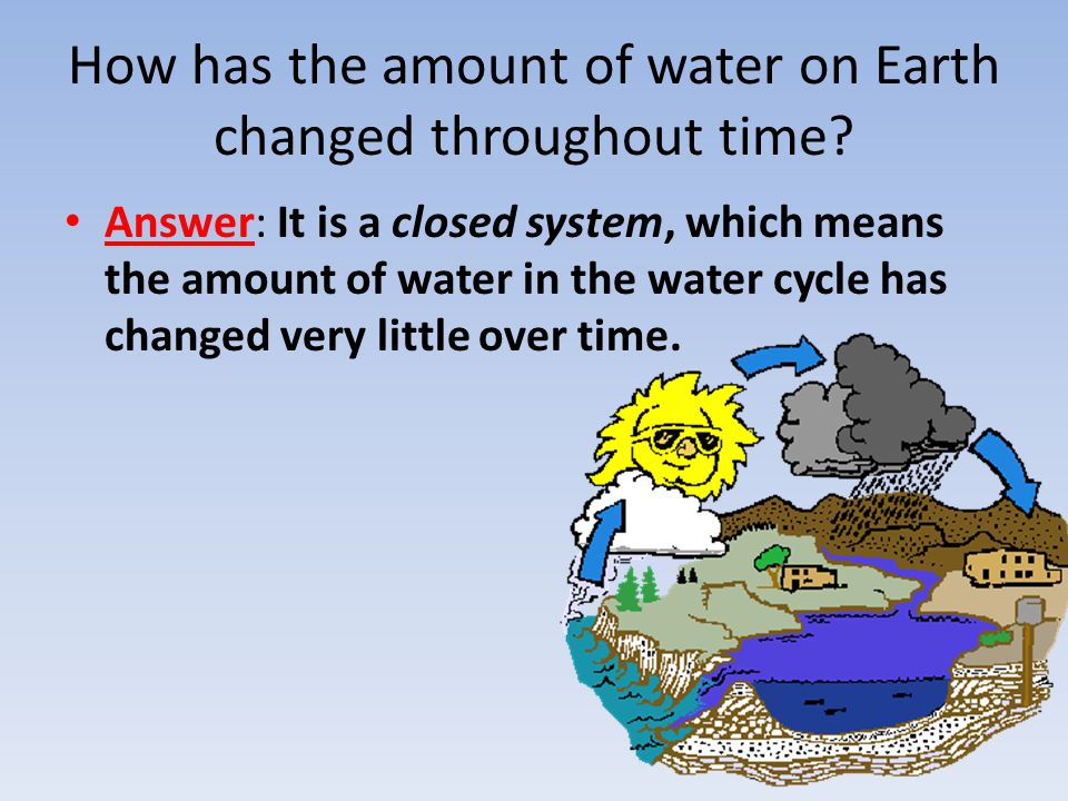 How has the amount of water on Earth changed throughout time? Answer: It is a closed system, which means the amount of water in the water cycle has ch