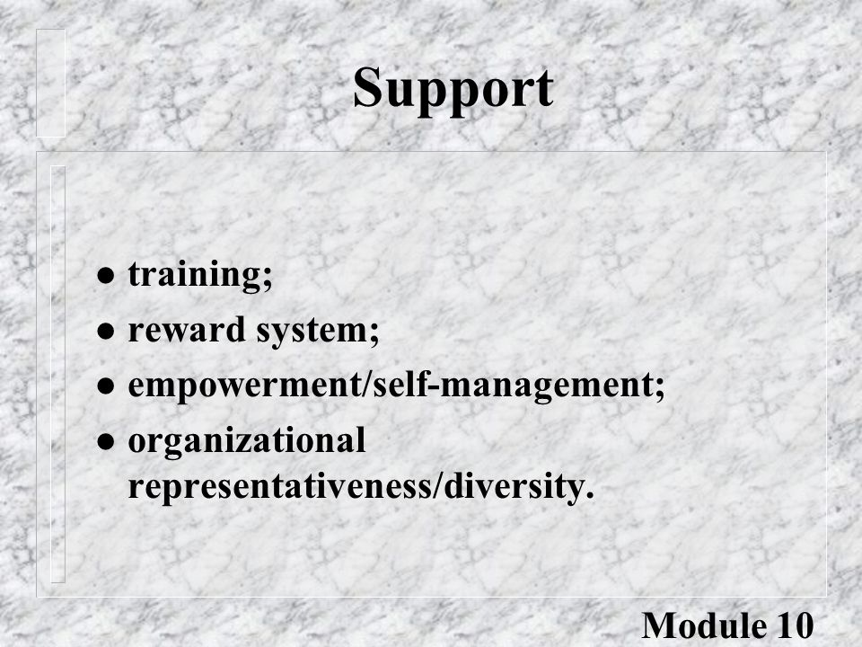 Support l training; l reward system; l empowerment/self-management; l organizational representativeness/diversity. Module 10