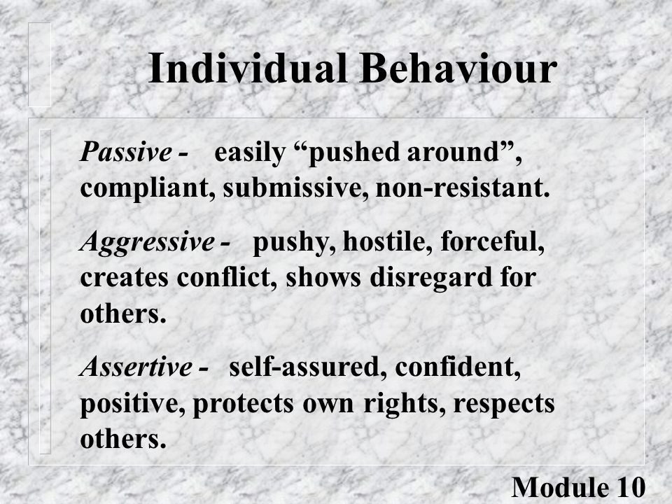 "Individual Behaviour Passive -easily ""pushed around"", compliant, submissive, non-resistant. Aggressive - pushy, hostile, forceful, creates conflict, s"