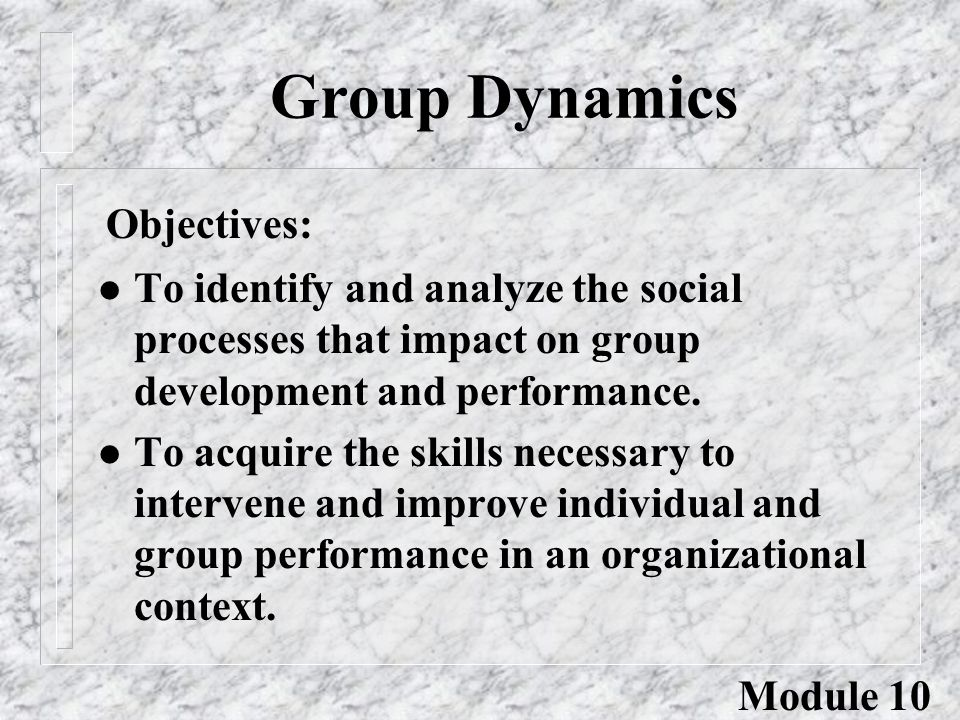 Group Dynamics l To identify and analyze the social processes that impact on group development and performance. l To acquire the skills necessary to i