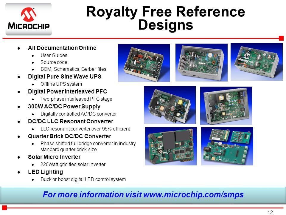 12 Royalty Free Reference Designs l All Documentation Online l User Guides l Source code l BOM, Schematics, Gerber files l Digital Pure Sine Wave UPS