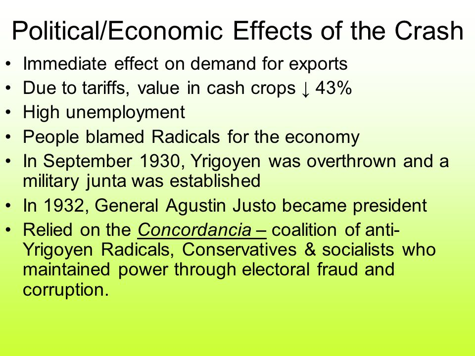 Political/Economic Effects of the Crash Immediate effect on demand for exports Due to tariffs, value in cash crops ↓ 43% High unemployment People blamed Radicals for the economy In September 1930, Yrigoyen was overthrown and a military junta was established In 1932, General Agustin Justo became president Relied on the Concordancia – coalition of anti- Yrigoyen Radicals, Conservatives & socialists who maintained power through electoral fraud and corruption.