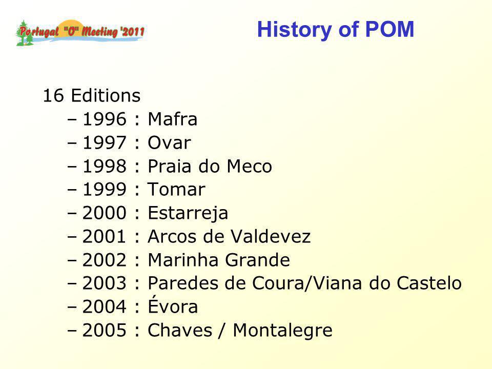 16 Editions –1996 : Mafra –1997 : Ovar –1998 : Praia do Meco –1999 : Tomar –2000 : Estarreja –2001 : Arcos de Valdevez –2002 : Marinha Grande –2003 : Paredes de Coura/Viana do Castelo –2004 : Évora –2005 : Chaves / Montalegre History of POM