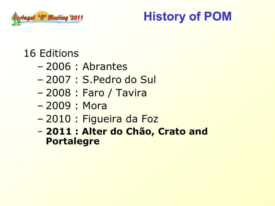 16 Editions –2006 : Abrantes –2007 : S.Pedro do Sul –2008 : Faro / Tavira –2009 : Mora –2010 : Figueira da Foz –2011 : Alter do Chão, Crato and Portalegre History of POM