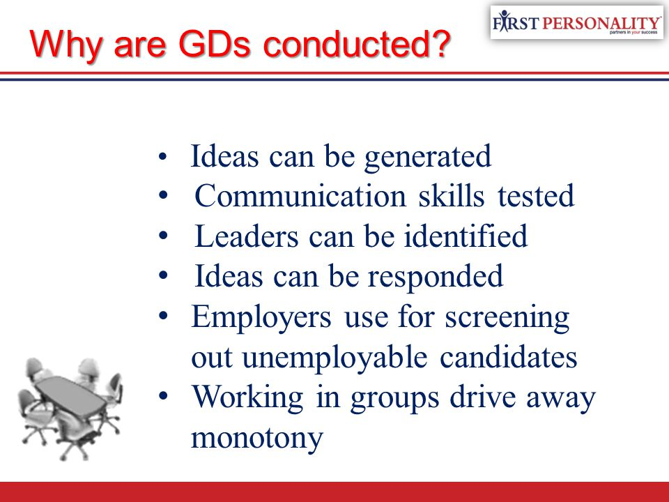 Ideas can be generated Communication skills tested Leaders can be identified Ideas can be responded Employers use for screening out unemployable candidates Working in groups drive away monotony Why are GDs conducted?