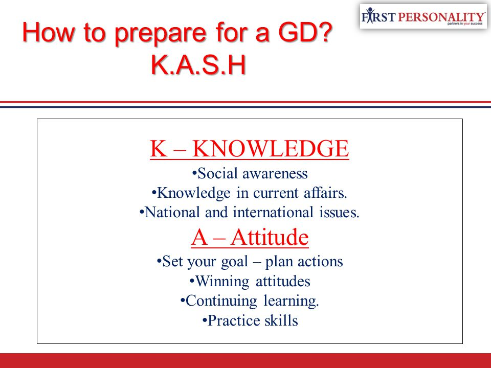 K – KNOWLEDGE Social awareness Knowledge in current affairs.